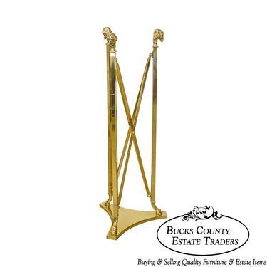 LaBarge Regency Style Brass Rams Head Hoof Foot Pedestal by BucksEstateTraders