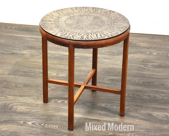 Teak & Brass Round End Table by mixedmodern1