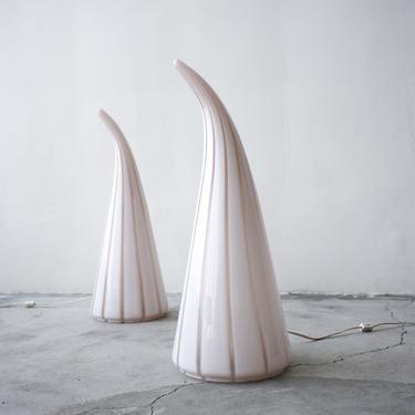Pair of Seguso Vetri d'Arte Murano Glass Table Lamps by AgedModern