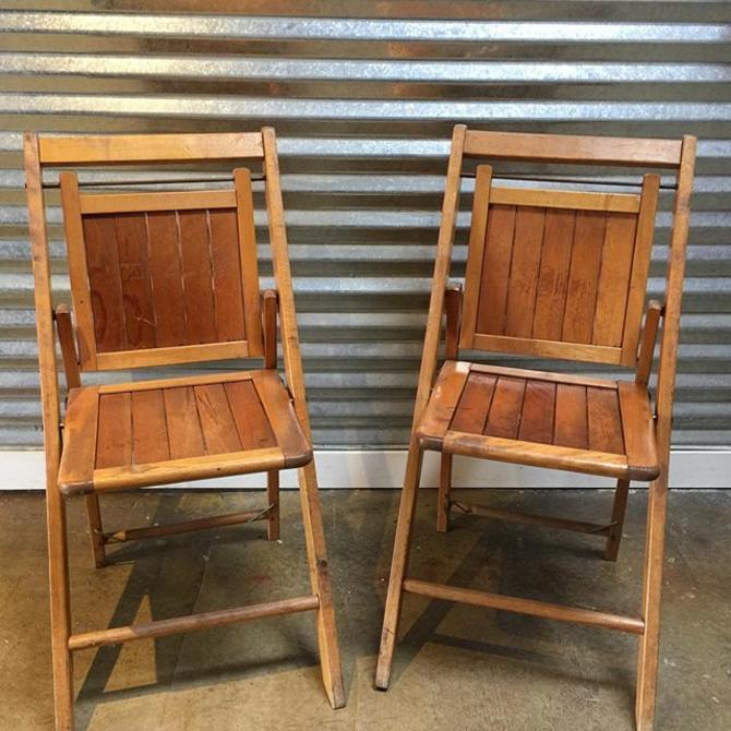 Vintage Wooden Folding Chairs Easy To Tuck Away After Holiday Guests Leave
