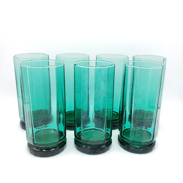 Vintage Green Glass Hexagon Tumblers | Set of 7 Anchor Hocking Turquoise Colored Glasses | MCM Tall, Heavy Cups Glassware by SavageCactusCo