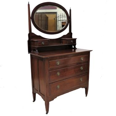 Bedroom Dresser | Vintage English Mahogany Three Drawer Dressing Chest With Beveled Mirror by PickeryPlace