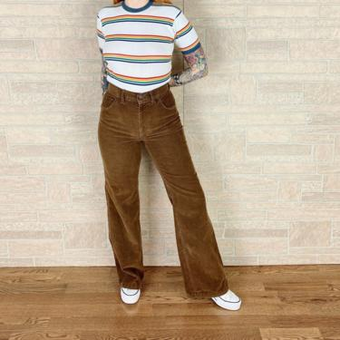 70's Chic H.I.S. Brown Corduroy High Waisted Bell Bottom Pants / Size 26 27 by NoteworthyGarments