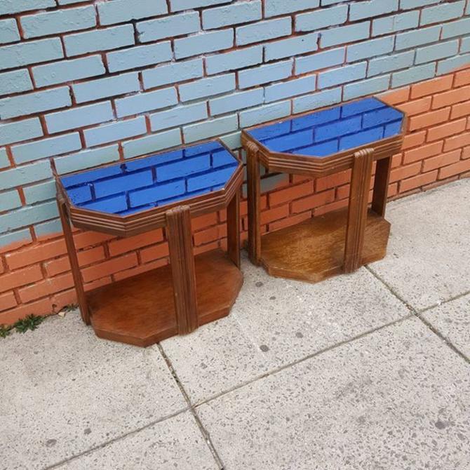 Cobalt Blue Mirror Top End Tables 42 Each