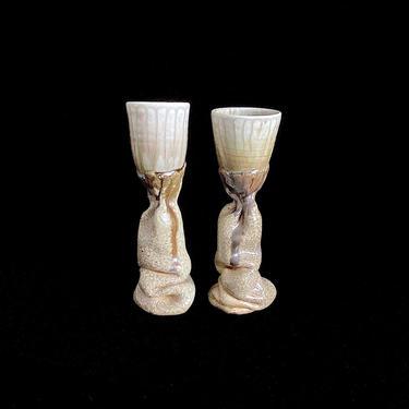 Vintage Mid Century Modern 1960s / 1970s Studio Pottery Set of 2 Goblets Chalices w/  Melting Bases & Drip Glaze Mystery Artist Hallmarks TK by SwankyChaperooo