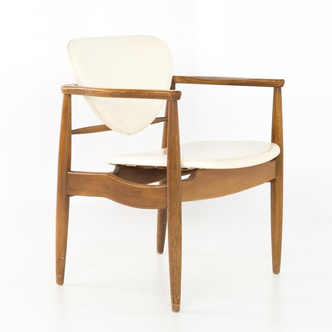 Finn Juhl Style Mid Century Walnut Captains Occasional Dining Desk Chair by ModernHill