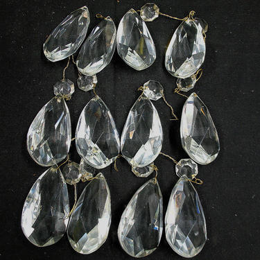 """2303 Mixed Lot 21 Used Almond Style Crystal PRISMS 3"""" First Quality by lampslightsshades"""
