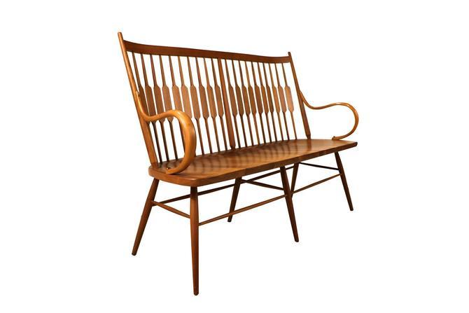 Mid Century Kipp Stewart for Drexel Declaration Walnut Spindle Back Bench by Marykaysfurniture