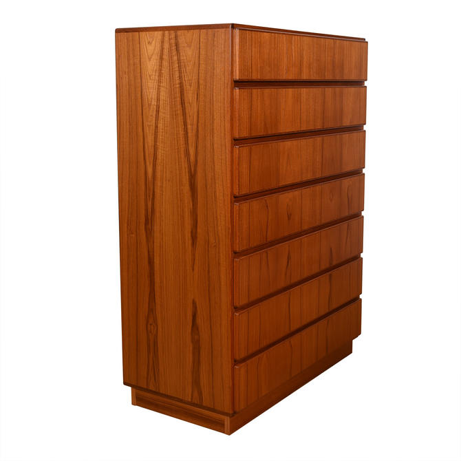 Danish Modern 7-Drawer Tall Teak Dresser