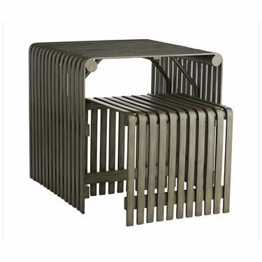 Arteriors Organic Modern Gray Rattan Carmen Side Tables - Set of 2