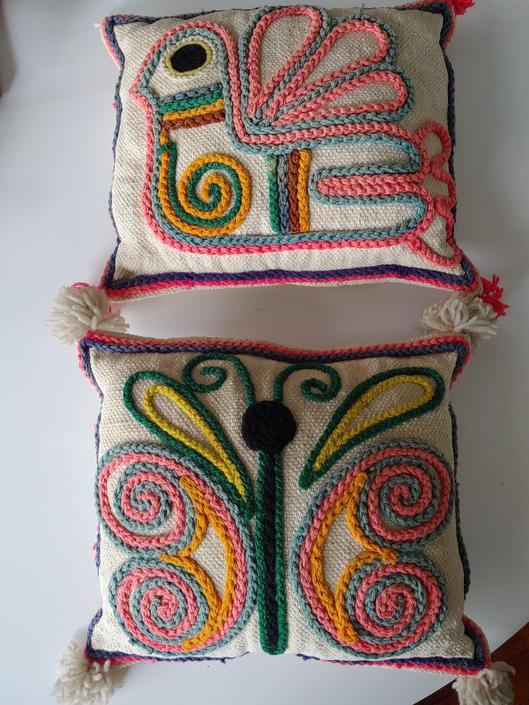Vintage Scandinavian Modern Style Hand Crewel Pair of Pillows by ModandOzzie