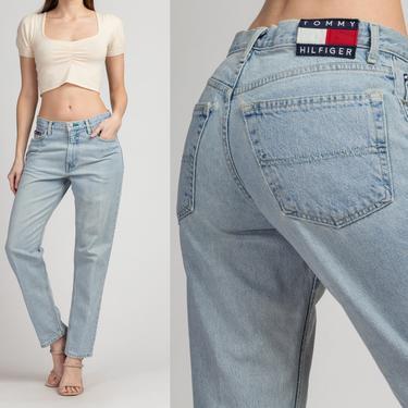 "90s Tommy Hilfiger High Waist Jeans - Medium, 31"" | Vintage Light Wash Denim Tapered Leg Mom Jeans by FlyingAppleVintage"
