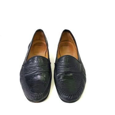 Moreschi Shoes Genuine Crocodile Men's Black 11.5 Penny Loafer Leather Slip On by MakingMidCenturyMod