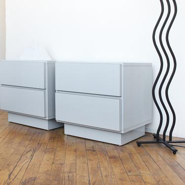 Vintage Laminate Nightstands Plinth Pair 80s Postmodern Grey Gray Lacquer by 330Modern