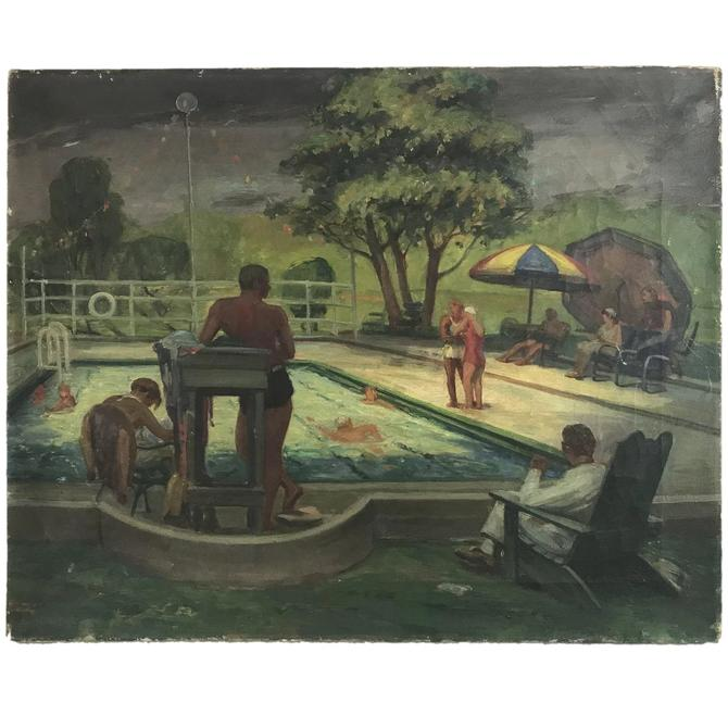 1930s Art Deco Swimming Pool Scene Oil Painting By