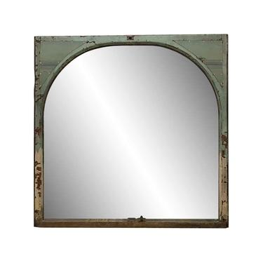 Arched Wood Window Mirror with Copper Details 60.25 x 59.5