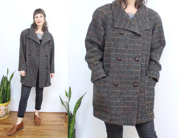 Vintage 80's 90's WOOL Peacoat / 1980's Muted Rainbow Plaid Jacket / Minimalist Plaid Coat / Women's Size Medium - Large Petite by RubyThreadsVintage