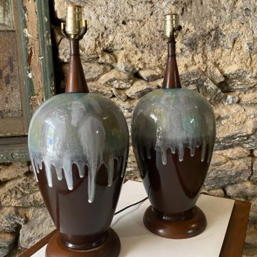 Mid century modern table lamp Mid century ceramic glazed lamps a pair by VintaDelphia