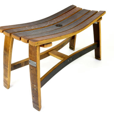 Wine Barrel Bench - Reclaimed Wood Bench by HungarianWorkshop