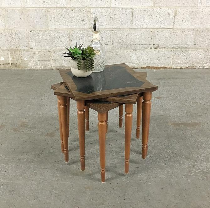 Vintage Stacking Tables Retro 1970's Set of 3 Matching Small Square Brown Wood + Black Marble Laminate + End Table + Side Table + Home Decor by RetrospectVintage215