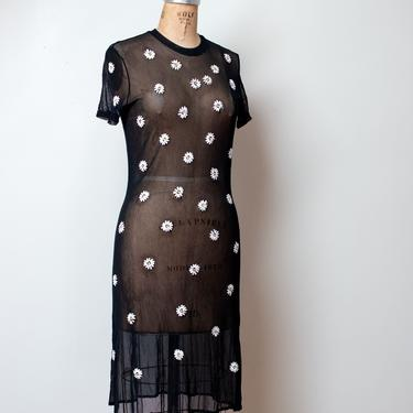 1990s Black Mesh Dress w/ Embroidered Daisies | Vivienne Tam by FemaleHysteria