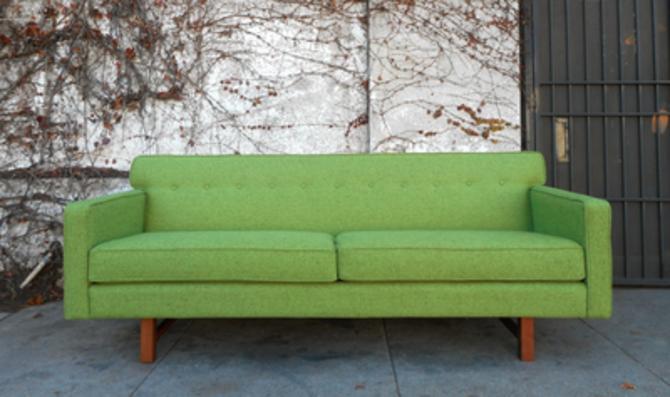 Mid Century Sofa in Green Tweed