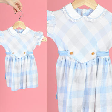 60s Baby Girl's Gingham Peter Pan Collar Dress - 18-24 Months   Vintage Kids Clothing Blue Checkered Dress by FlyingAppleVintage