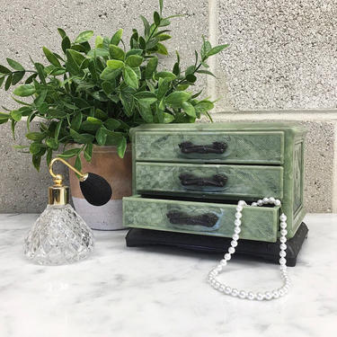 Vintage Jewelry Box Retro 1980s Asian + Oriental + Celluloid + Faux Jade + 3 Drawers + Jewelry Storage + Home and Vanity Decor by RetrospectVintage215