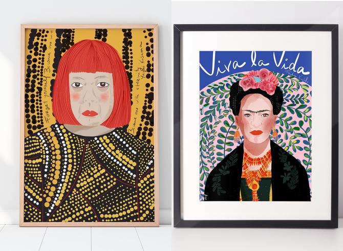 Set of 2 Icon Series Famous Women Art Prints  Ready to Frame Wall Art  Feminist Illustration cubicle decor Office Art Home Decor by VioletredStudio