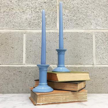 Vintage Candlestick Holders Retro 1990s Contemporary + Ceramic + Pottery + Baby Blue +  Set of 2 Matching + Candle Holders + Home Decor by RetrospectVintage215