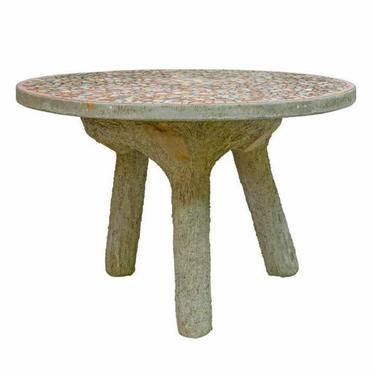 Vintage Emile Taugourdeau French Tile Mosaic Top Faux Bois Concrete Garden Table by LynxHollowAntiques