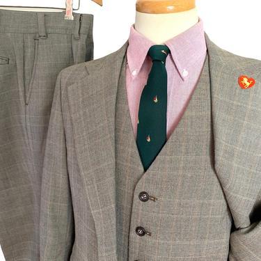 Vintage 1970s Wool Flannel 3pc GLEN PLAID Suit ~ 40 S ~ vest / waistcoat ~ pants / jacket / sport coat ~ Preppy / Ivy Style / Trad by SparrowsAndWolves