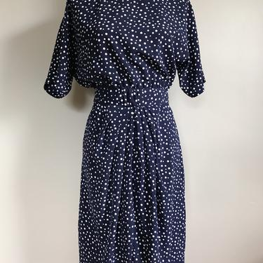 80s Navy and White Polka Dot Dress | Extra Small/Small by MuteVintage