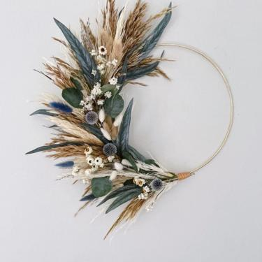 Fall Grasses Wreath with Blue and White Accents, Boho Neutral Coastal Wreath, Earthy Coastal Grasses Wreath, Pampas Grass and Eucalyptus by NovaWreaths