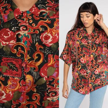 SILK Baroque Shirt 90s Black Red Rose Floral Abstract Blouse Button Up Top 1990s Short Sleeve Shirt Vintage Large L by ShopExile