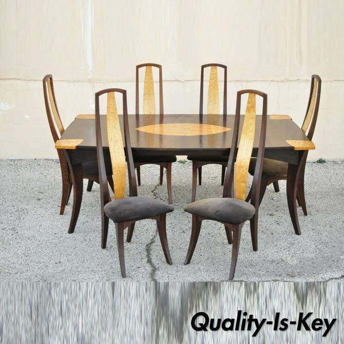 Jeffrey Greene Mid Century Arts & Crafts Birdseye Maple Inlay Dining Set - 7pcs