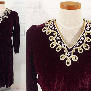 True Vintage Red Crushed Velvet Dress Ornate Style Burgundy Long Sleeve V Neck Boho Festival Holiday Christmas Party Cocktail Small XS XXS by CheckEngineVintage