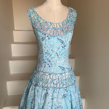 Gorgeous 1950s Sky Blue Party Dress with Ornate Trim 38 Bust Full Skirt Illusion Top by AmalgamatedShop