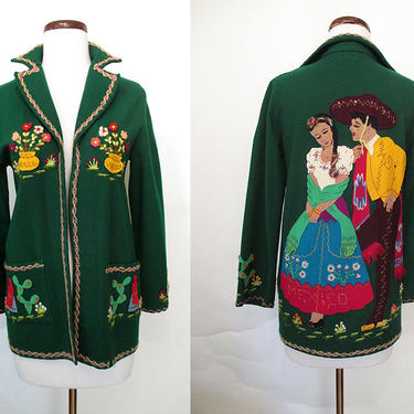 """Killer 1940's Hand Applique Deep Green Felt Mexican Tourist Jacket by """"Berty of Mexico"""" Rockabilly VLV Pinup Girl Mexi Jacket Size-Small by wearitagain"""