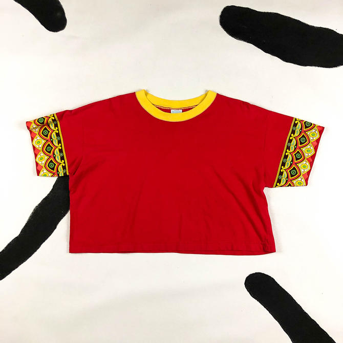 90s United Colors of Benetton Red Cropped Paisley Motif T Shirt / Crop Top / XL / Cotton / Screen Print / India / Allover Print / Large by shoptrashdotnet