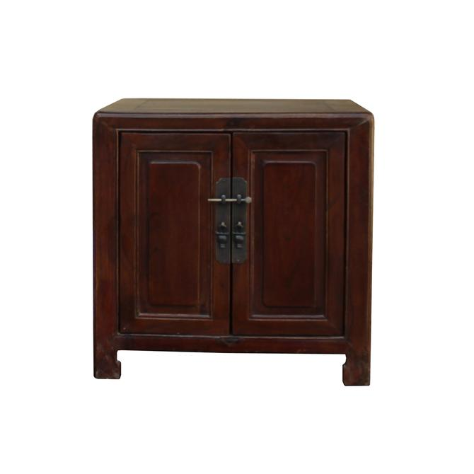Chinese Ming Style Republic China Brown Simple End Table Nightstand cs3062S