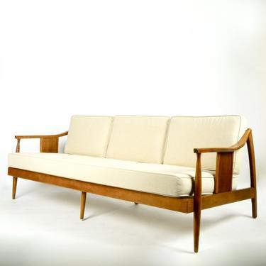 Walnut Frame Three Seat Sofa