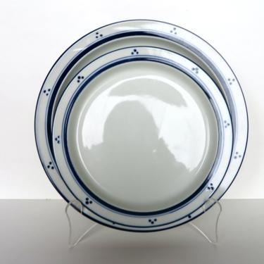 "Vintage Dansk Bistro Fredriksborg Dots Dinner Plate, 10 1/4"" Danish Modern Blue And White Dinnerware by HerVintageCrush"
