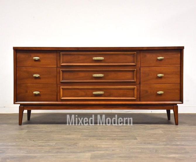 Walnut & Brass Long Dresser by mixedmodern1