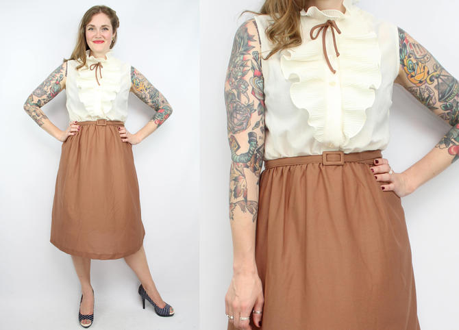 Vintage 70's White and Brown Secretary Dress / 1970's Ruffle ...