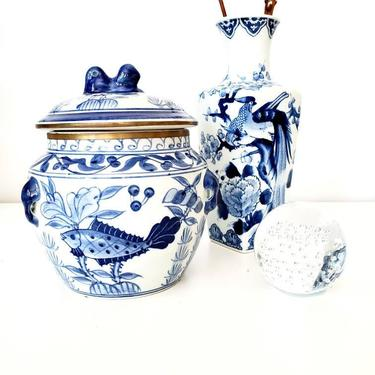 Vintage Blue & White Chinoiserie LIdded Decor Jar by pennyportland