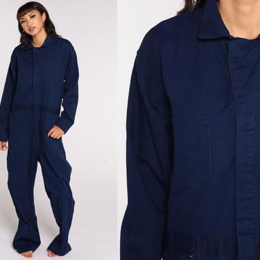 Blue Boiler Suit Long sleeve Coveralls Jumpsuit Pants Workwear Uniform 80s Boilersuit Work Wear Vintage 1980s Men's 44 R Large by ShopExile