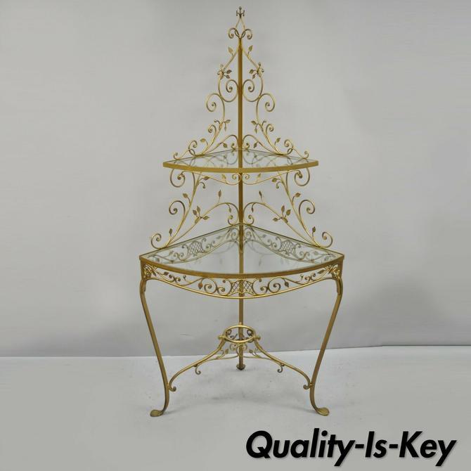 Vtg Italian Hollywood Regency Gold Iron Metal Corner Curio Display Shelf Stand