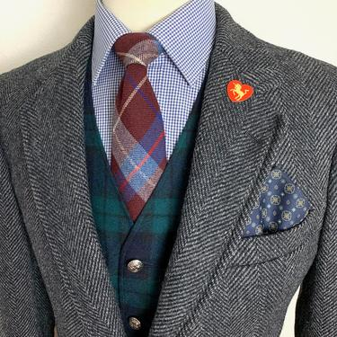 Vintage ABERCROMBIE & FITCH 100% Wool TWEED Blazer ~ 38 Short to Reg ~ Herringbone jacket / sport coat ~ Preppy / Ivy League / Trad ~ by SparrowsAndWolves