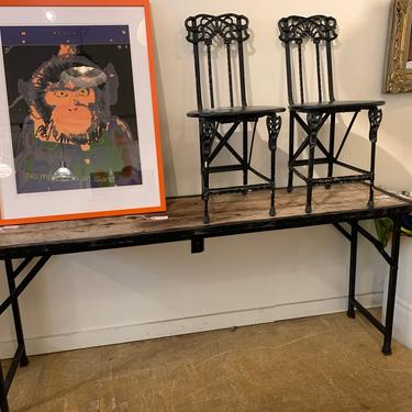 Vintage Industrial Folding Table by coloniaantiques